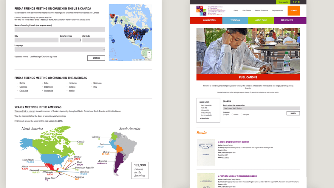 Styled database search forms on the FWCC Section of the Americas website that allow users to find Friends Meetings in the Americas or Quaker literature.