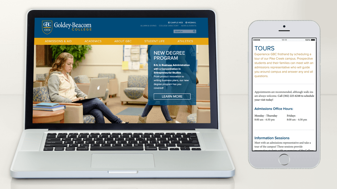 Displaying the developed responsive website for Goldey-Beacom College by showing the homepage in a desktop browser and an interior content page in a mobile browser.