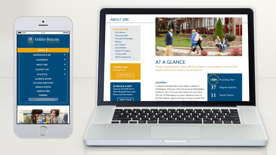 Displaying the developed responsive website for Goldey-Beacom College by showing the mobile navigation and an interior content page in a desktop browser.