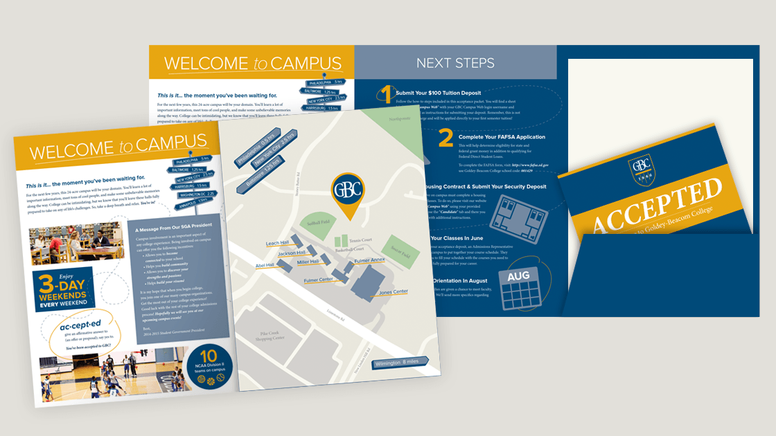 Interior views of Goldey-Beacom College's acceptance packet folder. Details shown inside include an illustrated campus map, welcome message in the style of a infographic, listing of enrollment steps, and a pocket holding paperwork and an acceptance postcard.