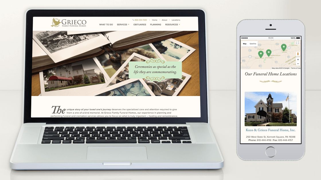 Responsive web design for Grieco Family Funeral Homes shown by displaying the homepage in a desktop browser alongside the locations page in a mobile browser.