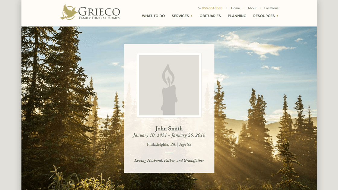 Design of Grieco Family Funeral Homes' obituary page, highlighting the design of the fullscreen header memorial.
