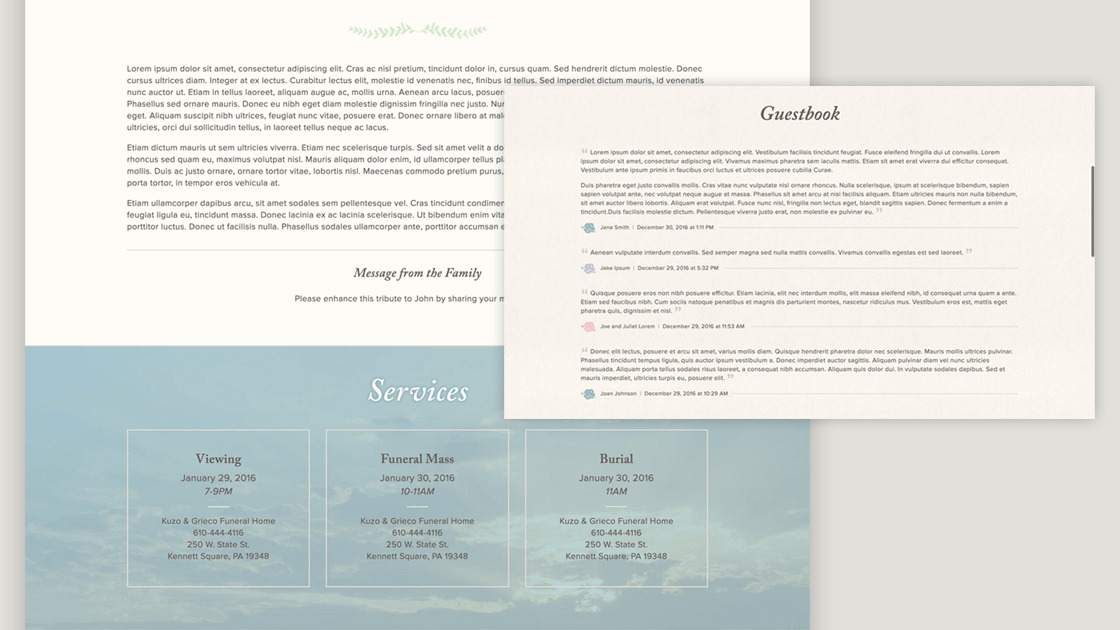 Design of Grieco Family Funeral Homes' obituaries, showing the detail in the obituary, funeral service listings, and guestbook sections.