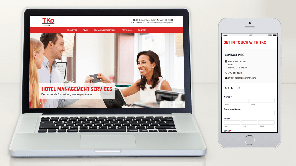 Responsive design of TKo Hospitality website shown by displaying thr homepage in a desktop browser and contact page with form in a mobile browser.