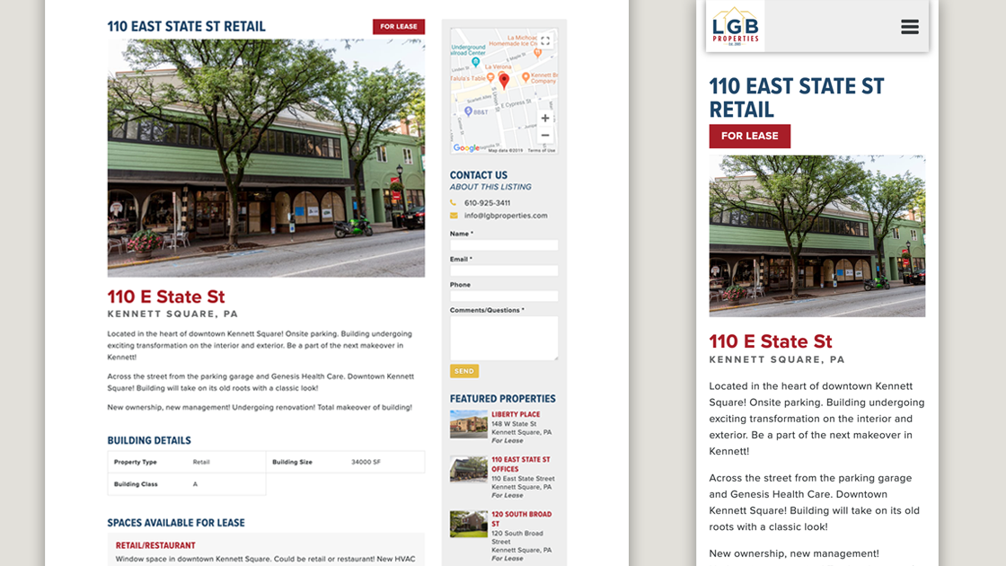Design of LGB Properties property page on desktop and mobile.