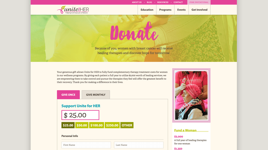 Design of Unite for HER donation page showing the header intro and payment processing form.